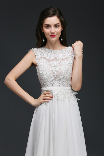Online Shop Simple Chiffon Lace Wedding Dresses 2017 Sexy Backless ...