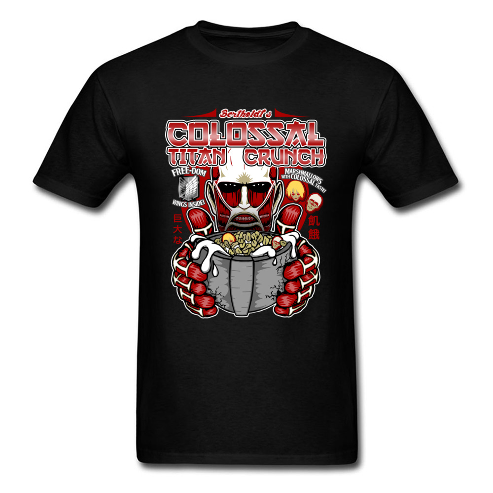 2018 Attack On Titan Funny Men T-shirt Anime Cartoon T Shirts For Birthday Party Funky Black Tops Pure Cotton