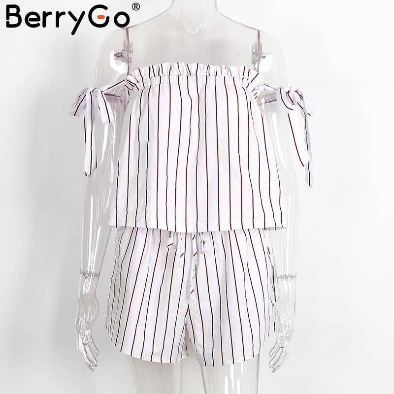 BerryGo с открытыми плечами, Полоска, элегантный комбинезон, белый ремень, открытая спина, бант, комбинезоны, сексуальный Летний Пляжный комбинезон, женский наряд