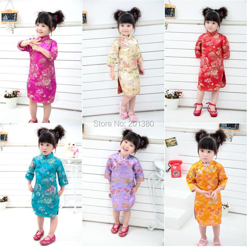 Kid Girl Summer Dressed Three Quarter clothing Traditional Chinese Style Cheongsams Qipao 13DESIGNS FOR CHOOSE girl