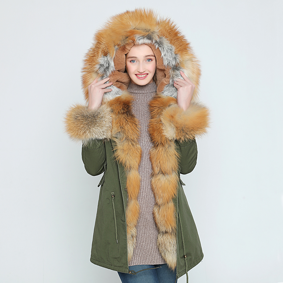 ef471f6b346 New High Quality Camouflage Real Fur Collar Parka