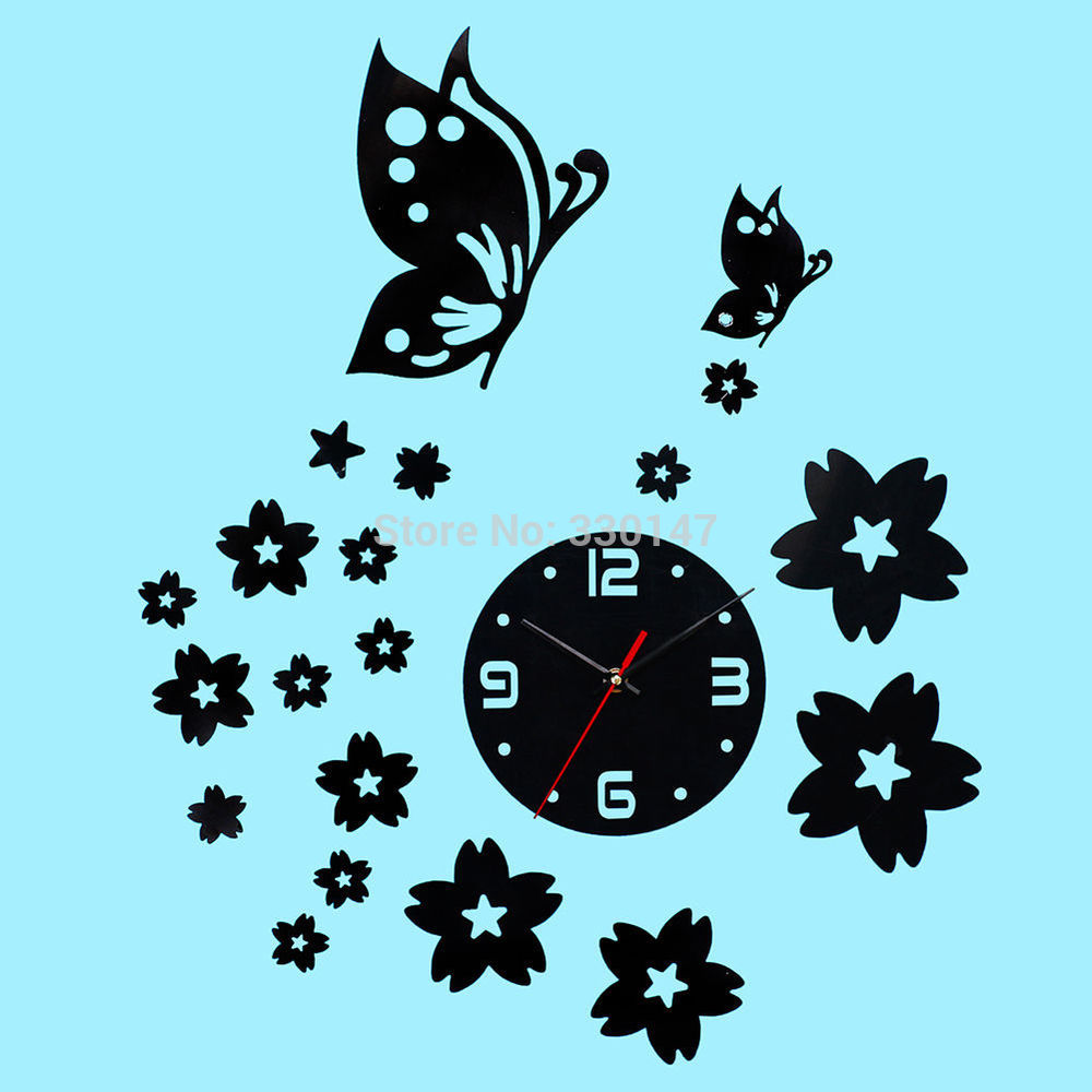 Modern Art Decor Wall Clock Sticker : Creative butterfly flower d wall clock acrylic mirror