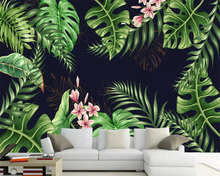 Beibehang Nordic hand-painted minimalist rainforest plant TV background wall living room bedroom decorative mural 3d wallpaper