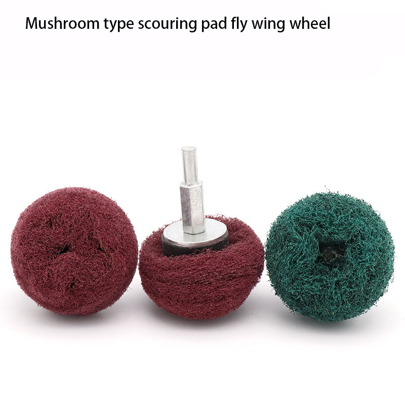 1pcs Red Green With Handle Fly Wing Wheel Scouring Pad Grinding Mushroom Type Spherical Nylon Brushed Polishing Wheel
