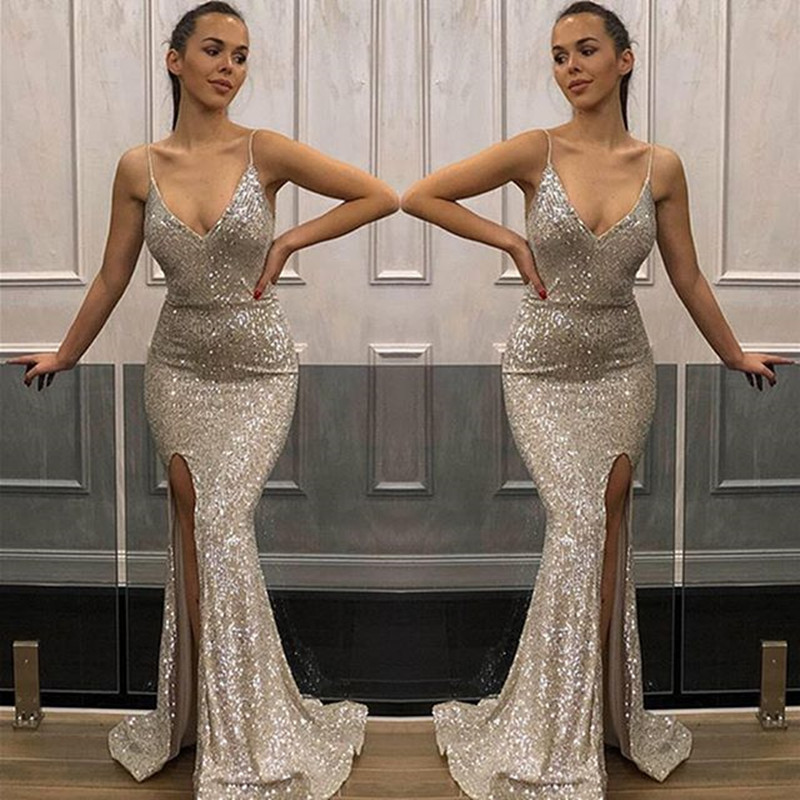 2019 Stunning Mermaid Evening Long   Dresses   Sexy Slit Party Gown For Women Sexy V-neck Reflective   dress   Long   Prom     Dress