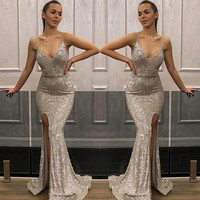 2019 Stunning Mermaid Evening Long Dresses Sexy Slit Party Gown For Women Sexy V neck Reflective dress Long Prom Dress