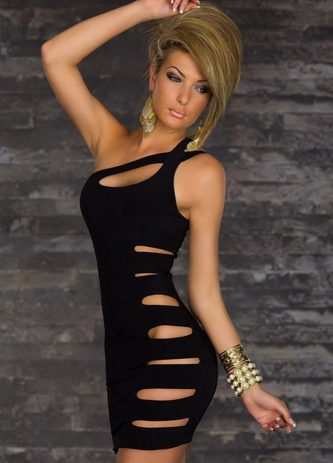 Free Shipping New <font><b>2015</b></font> <font><b>Sexy</b></font> Women Clubwear Natural Color Hollow Out One-Shoulder Mini Package Hip Bodycon Dress Red Green Black image