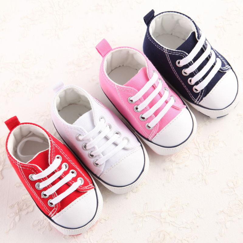 Cute Newborn Baby Crib Shoes Canvas Shoe Soft Sole Prewalker Anti-slip Sneakers 0-18 Months