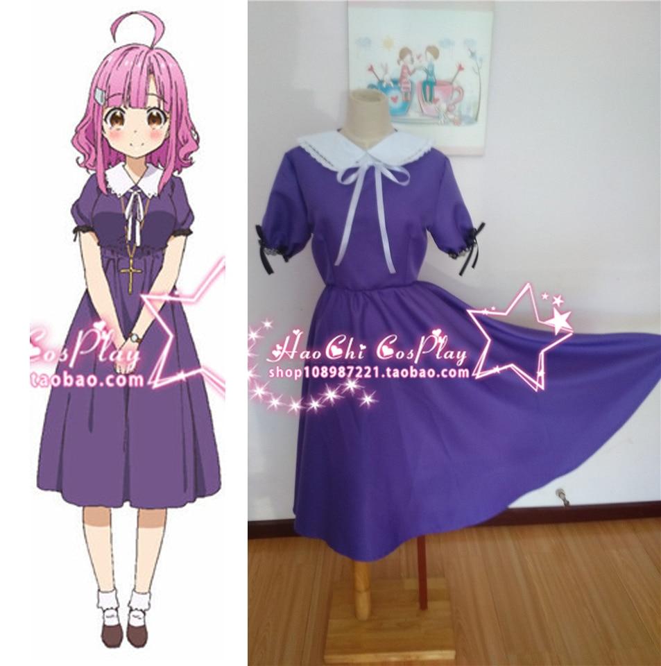 Schule Live! Gakkou Gurashi! sakura megumi anime partei cosplay lila ...