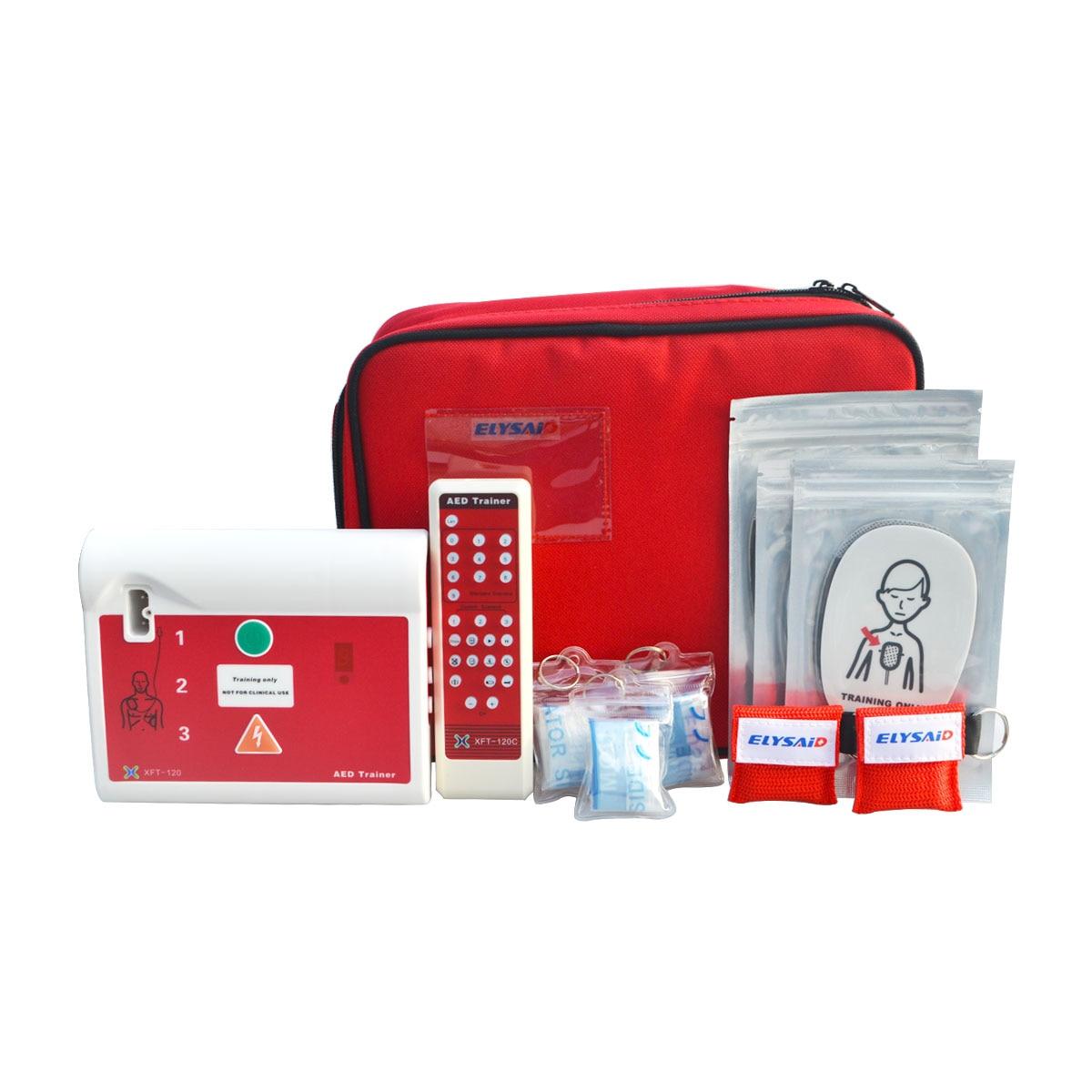 1 set Treinador AED Desfibrilador Externo Automático Máquina de Simulador De Paciente de Primeiros Socorros CPR Escola Habilidade Traning & Inglês Espanhol