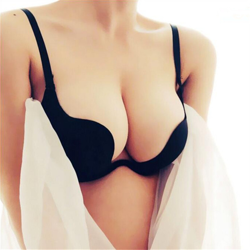 2019 ECMLN Sexy Women Lingerie U Backless Bras Underwear Deep U Low Cut Push Up Bra Intimates Female DropShip(China)