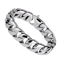 High Quality Silver Tones 316L Titanium Steel Man S Fashion Bracelets 12mm Width 18 19 20