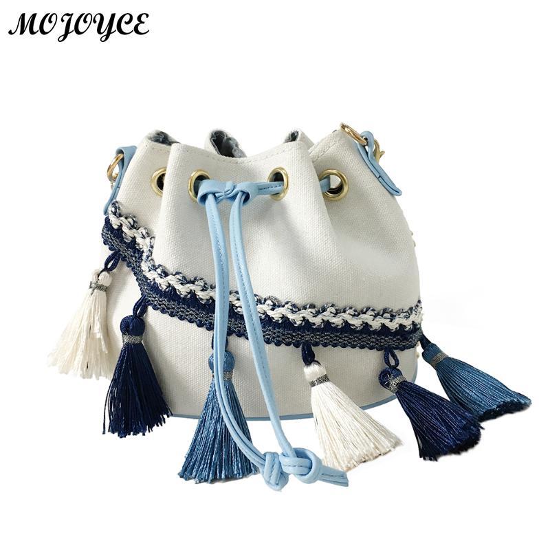 Canvas Drawstring Bucket Bag Chains Shoulder Handbags Women's Vintage Messenger Bags Bolsa Feminina Bolsos Ethnic