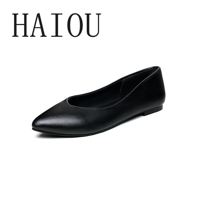 2017 Fashion Pointed Toe Flats Woman Spring Shoes Simple Work Ballerina  Shoes for Women Flat Office Shoes Women Black Big Size aa53b7e886
