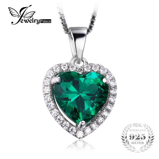 Coração do oceano nano russa 2.4ct criado verde esmeralda jewelrypalace de halo pingente 925 jóias de prata esterlina sem uma cadeia