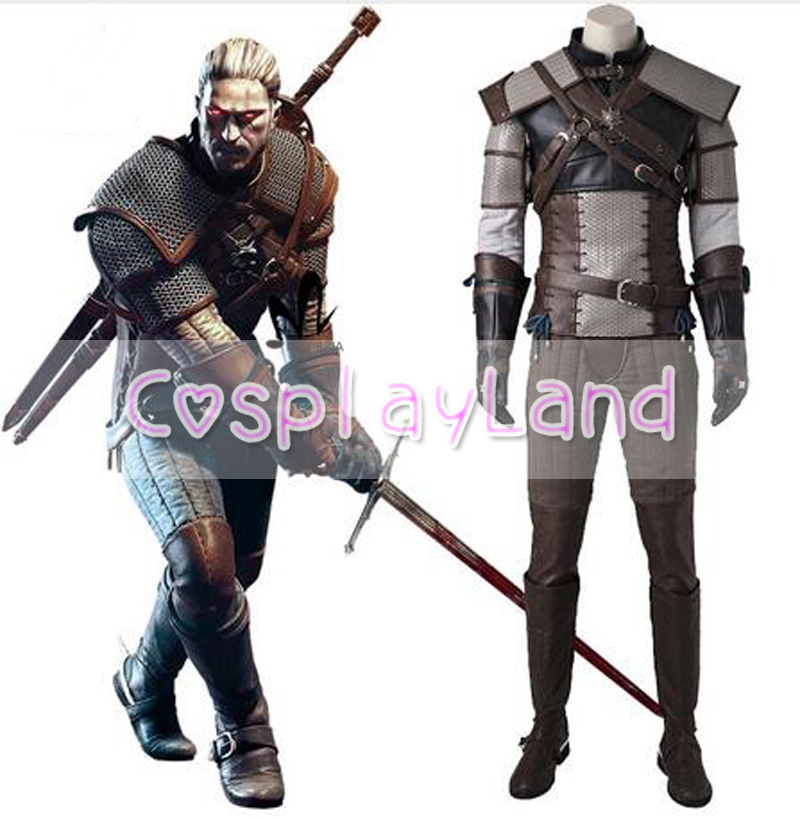 The Witcher 3 Wild Hunt Cosplay Costume Game Suit for Adult Geralt of Rivia Cosplay Costume Custom Made Carnival Halloween Suit halloween cosplay suit