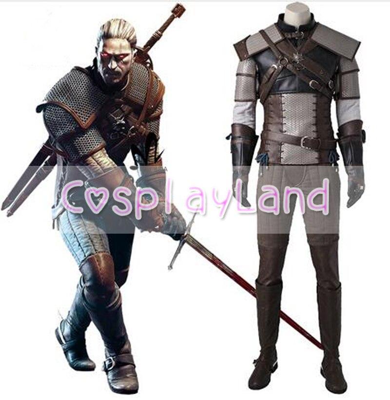 The Witcher 3 Costume de Cosplay de chasse sauvage Costume de jeu pour adulte Geralt de Rivia Costume de Cosplay sur mesure carnaval Costume d'halloween