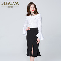 New Pearl Spring women s casual shirt backing sexy Strapless collar shirt