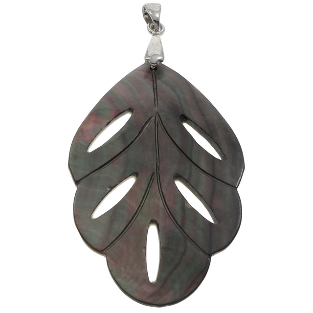 1 pc wholesale price real natural black shell pendants leaf flower 1 pc wholesale price real natural black shell pendants leaf flower silver color bail mother aloadofball Image collections