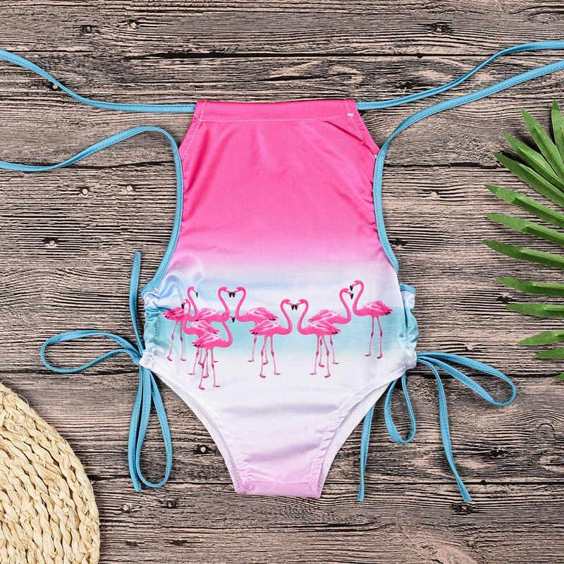 夏の女の赤ちゃんビキニ女性バグ女の子フラミンゴ水着子供服ワンピース女の子ための 2-6 年 d0234