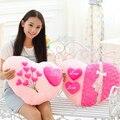 1 unid caliente venta rosas de color rosa almohada de felpa con personal amor Shape amortiguador de la felpa del día de san valentín de regalo de bodas regalo