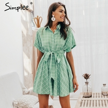 Simplee Elegant plaid sashes women dress Short sleeve A-line casual streetwear female short dress Button summer dress 2019