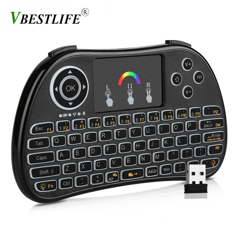 Wireless 2.4G LED Backlight Touchpad Gaming QWERTY Keyboard for PC Mac Smart TV