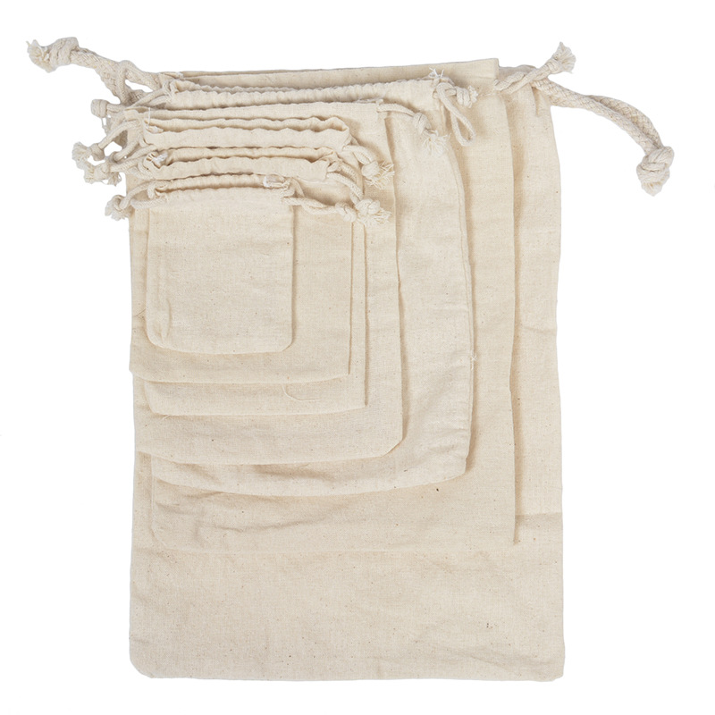 50pcs/lot Handmade Small Muslin Cotton Drawstring Packaging Gift Bags For Coffee Bean Jewelry Wedding Favors Rustic Storage Bags