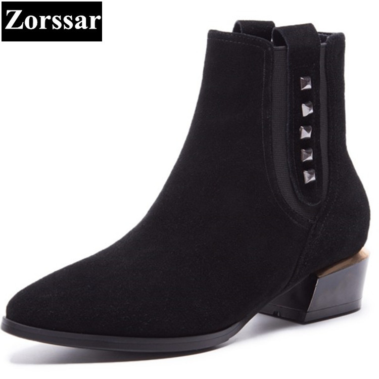 {Zorssar} Brand 2018 NEW Fashion Cow Suede Women Boots Low Heel pointed Toe ankle Martin boots Solid womens shoes winter boots new 2017 spring summer women shoes pointed toe high quality brand fashion womens flats ladies plus size 41 sweet flock t179