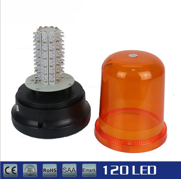 120 LED Amber LED Emergency Vehicle Magnetic Hardwired And Rotating Beacon Warning Light 12V