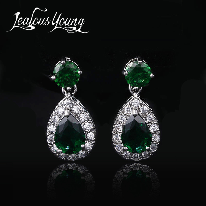 Popular Green Stone Earrings Elegant Marquise Crystal Drop Earings For Women Jewelry Micro Inlay Craft Wedding