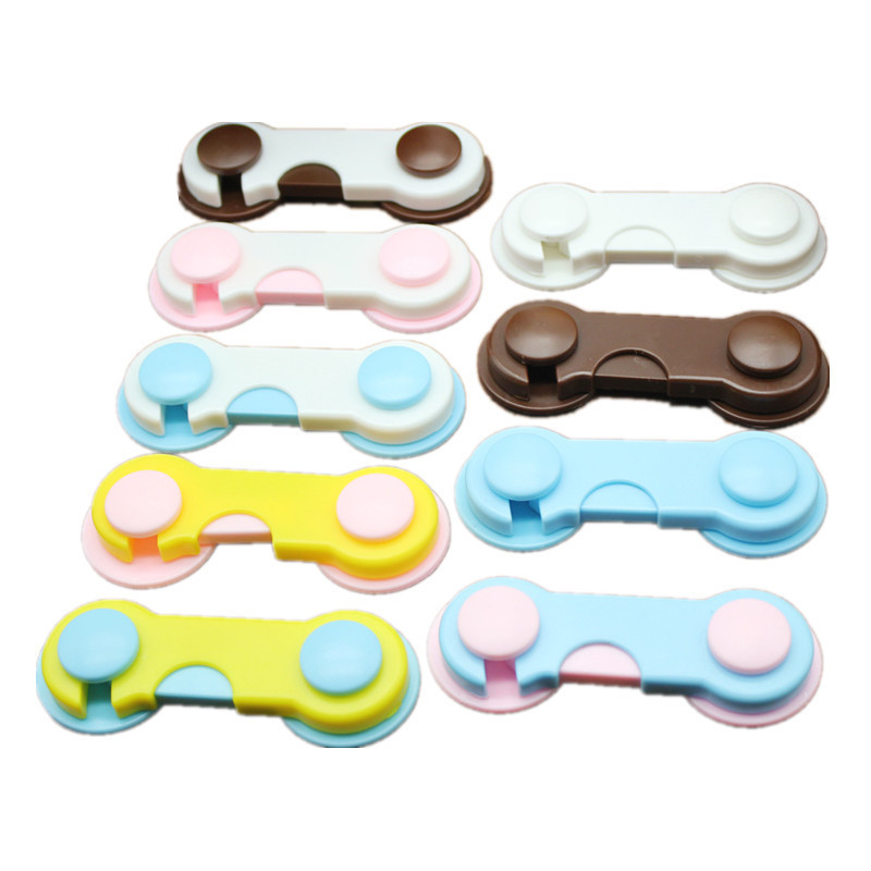 1pc Free Shipping Infant Plastic Lock Adhesive Doors Drawers Wardrobe Toddler Baby Children Protection Kids Security Product #TC