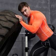 2017 Hot Sale Real Men s Sport Compression Shirt Tights Base Layer Fitness Running Long Sleeve