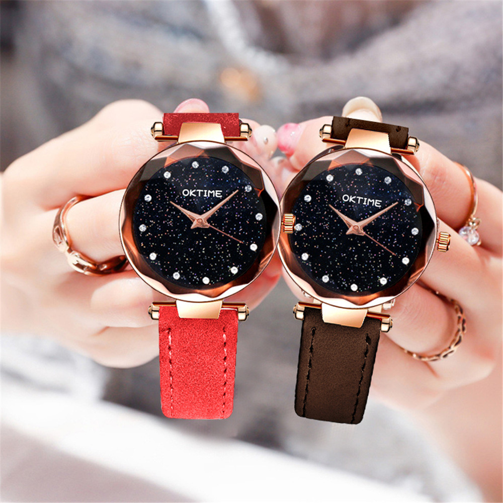Fashion Starry Black Sky Women Luxury Watches Ladies Leather Band Female Clock Analog Alloy Quartz Wrist Watch Horloges Vrouwen