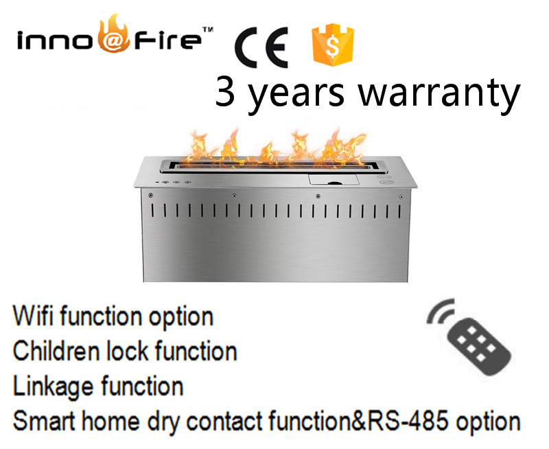 18 Inch Long Remote Control Silver Or Black  Ethanol Stainless Steel Recessed Electric Fireplace