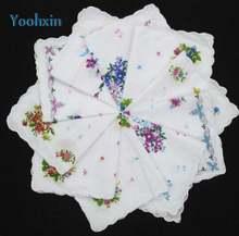 Винтажный белый женский кружевной квадратный носовой платок