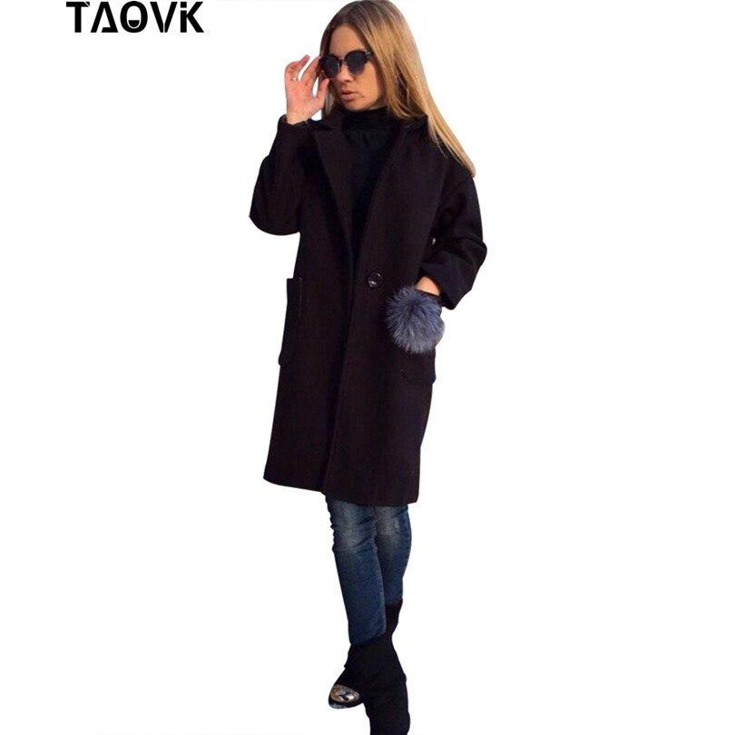 TAOVK Women long overcoat long sleeve lapel coat with a fur balls Pockets coats
