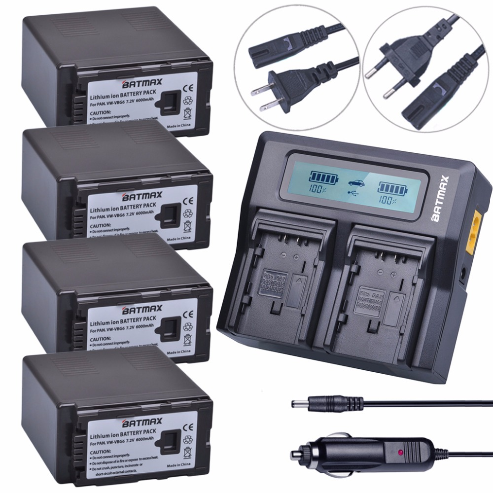 4Pcs VW-VBG6 VBG6 6000mAh Li-Ion Camcorder Battery + Fast LCD Dual Charger for Panasonic AG-AC160A,AG-AC7,AG-AC130A,AG-HMC150 replacement vbg260 7 4v 2460mah battery pack for panasonic ag hmc150 hdc dx1 more