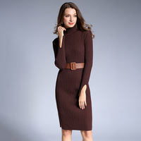 Vestidos Mujer Top Fashion Bud Mesh Microfiber Dress High Necked Sweater 2018 Winter New Ol Dress Long One Step Sleeved Knitted