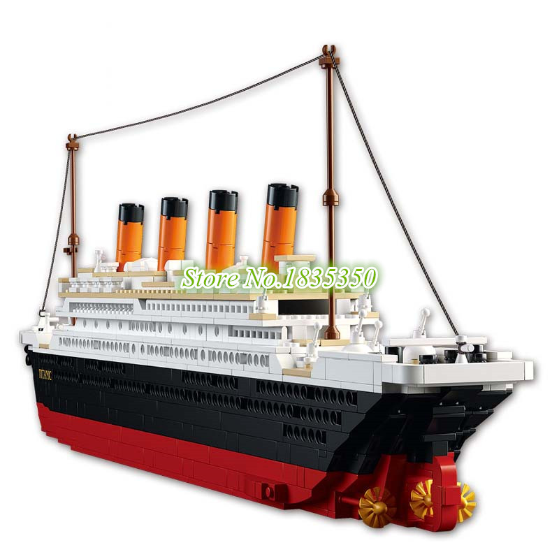 ФОТО AIBOULLY 1021Pcs Titanic Ship Building Blocks Sets Toys Boat Model Kids Gifts Boys Birthday Gift educational toys for children