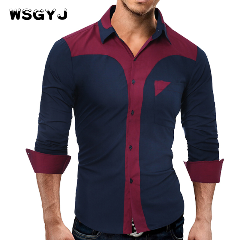 WSGYJ Brand 2018 Fashion Male Shirt Long-Sleeves Tops Fashion Youth Hit Color Mens Dress Shirts Slim Men Shirt 3XL