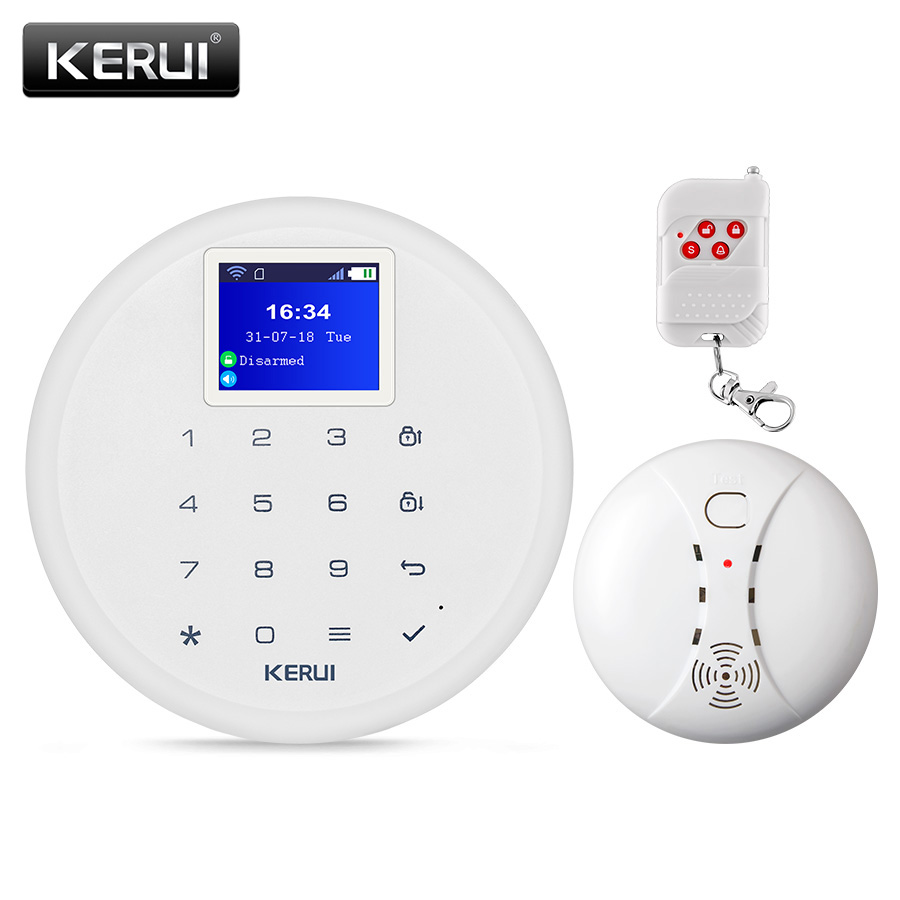 KERUI W17 Wireless WiFi GSM Alarm System IOS Android APP Control Home Warehouse Security Smoke Fire Protection Multiple Language