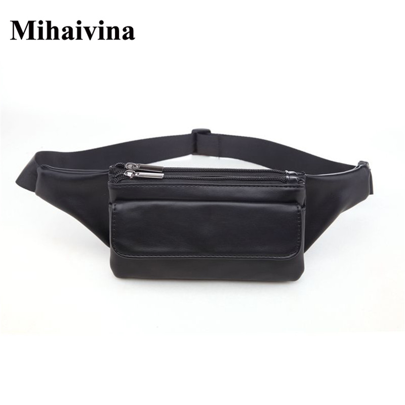 Mihaivina Leather Women Waist Bag Economic Unisex Waist Packs Men Travel Belt Bag Hip Belt Bum Zipper Phone Pouch Bags Wholesale недорого