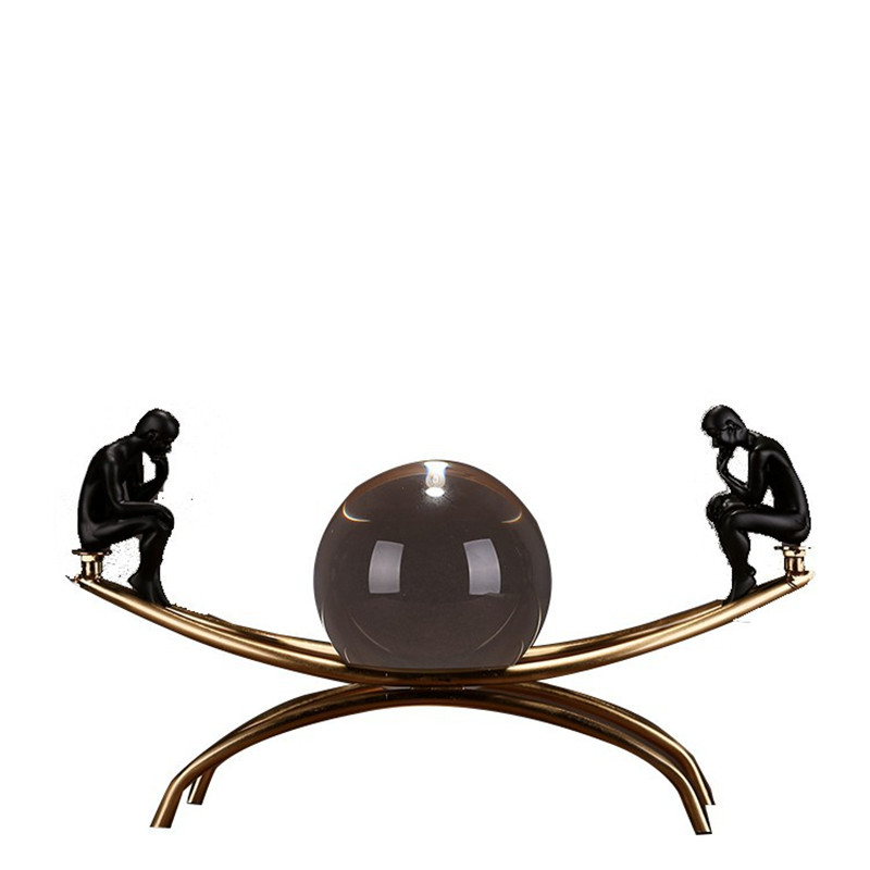 Frame Thinker Figurines Sitting On A Metal Sculpture With Bronze Crystal Ball Metal Handicrafts Living Room Decorations R786Frame Thinker Figurines Sitting On A Metal Sculpture With Bronze Crystal Ball Metal Handicrafts Living Room Decorations R786