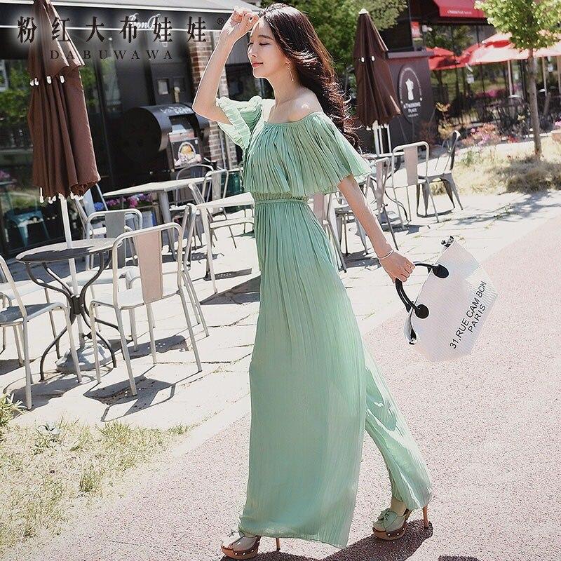 Оригинальный комбинезон 2017 Лето Boho дамы высокой талией модные однотонные трепал плиссированные широкие брюки комбинезоны женские оптом