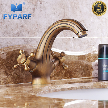 FYPARF Bathroom Faucet Dual Holder Brass Bathroom Water Tap Cold and Hot Bathroom Basin Tap Set Vintage Single Tap Faucet B1060