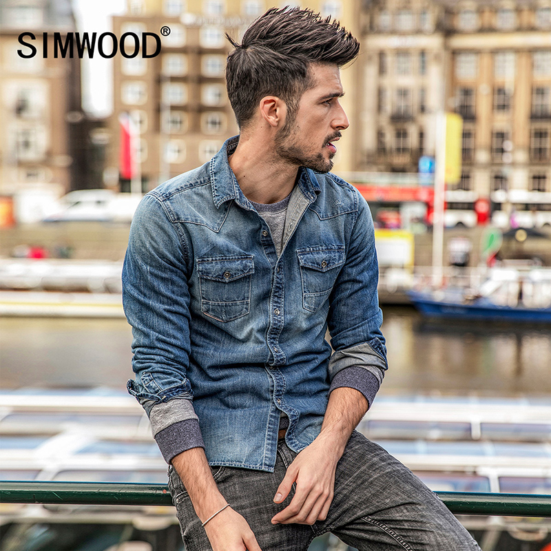 SIMWOOD New Autumn Men Denim Shirt Fashion Slim Casual Style Blue Long sleeved Shirt Cotton ...