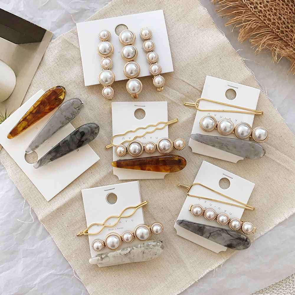 1 SET Korea Chic Imitiation Pearl Hairpin Irregular Metal Gold Silve Bowknot Acrylic Hair Clips for Women Girls Hair Accessories