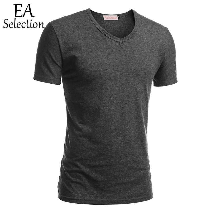 EA casual V cuello manga corta Camiseta blanca para los hombres de color sólido verano de alta elástico fitness ropa interior de algodón negro gris