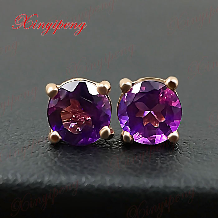 18 k rose gold with 100% natural Amethyst earrings color of fire Fine jewelry contracted 18 k rose gold with natural ruby ring female fine jewelry classic contracted the flower shape